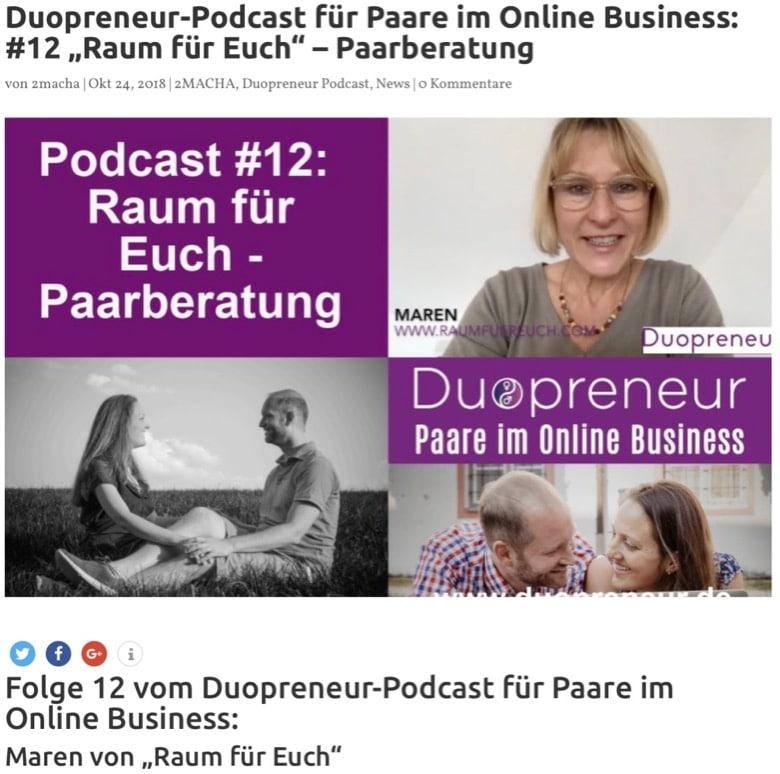 Duopreneur - Paarberatung - Raum für Euch - Maren Sörensen